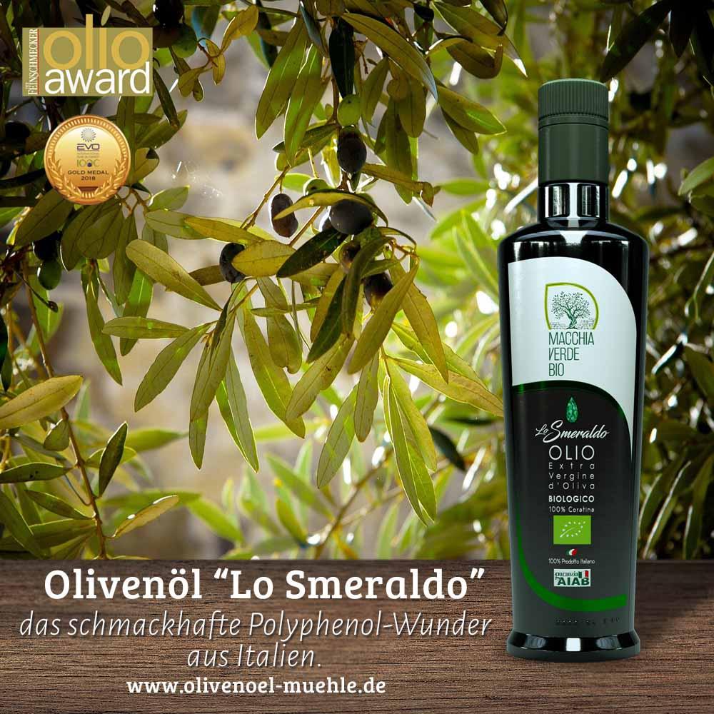 Olivenöl Test auch für das Smeraldo Olivenöl, das polyphenolreiche in unserer Produktion